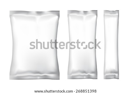 White Blank Foil Food Snack pack For Chips, Spices, Coffee, Salt, and other products. Plastic Pack Template for your design and branding. Vector - stock vector