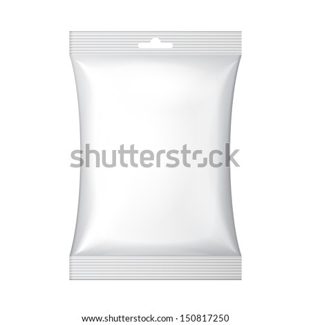 White Blank Foil Food Snack Sachet Bag Hang Slot Packaging For Coffee, Salt, Sugar, Pepper, Spices, Sachet, Sweets, Chips, Cookies Or Candy. Plastic Pack Template Ready For Your Design. Vector EPS10  - stock vector