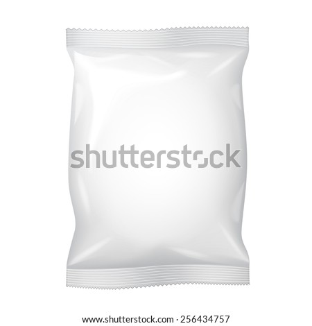 White Blank Foil Food Snack Sachet Bag Packaging For Coffee, Salt, Sugar, Pepper, Spices, Sachet, Sweets, Chips, Cookies. Illustration Isolated. Mock Up Template Ready For Your Design. Vector EPS10