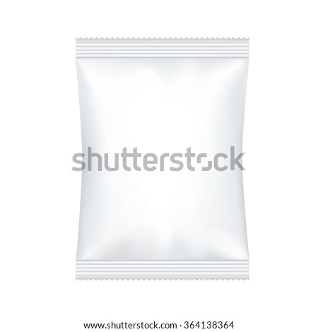 White Blank Foil Food Snack Sachet Bag Packaging For Coffee, Salt, Sugar, Pepper, Spices, Sachet, Sweets, Chips, Cookies Or Candy. Plastic Pack Template Ready For Your Design. - stock vector