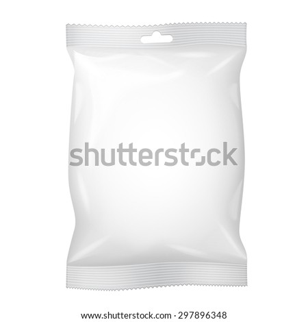 White Blank Foil Food Snack Sachet Bag Packaging Hang Slot For Coffee, Salt, Sugar, Pepper, Sachet, Sweets, Chips, Cookies. Illustration Isolated. Mock Up Template Ready For Your Design. Vector EPS10 - stock vector