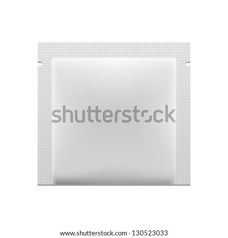 White Blank Foil Packaging Medicine Drugs Or Coffee, Salt, Sugar, Pepper, Spices, Sachet, Sweets, Candy Or Condom Wrapper. Plastic Pack Ready For Your Design. Snack Product Packing Vector EPS10
