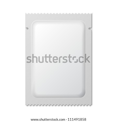 White Blank Foil Packaging Medicine Drugs Or Coffee, Salt, Sugar, Pepper, Spices, Sachet, Sweets Or Candy Plastic Pack Ready For Your Design. Snack Product Packing Vector EPS10 - stock vector