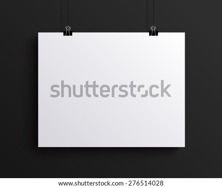 White blank horizontal sheet of paper on the dark grey background, vector mock-up illustration