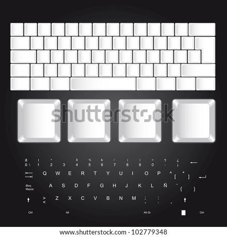white blank keyboard over black background. vector - stock vector