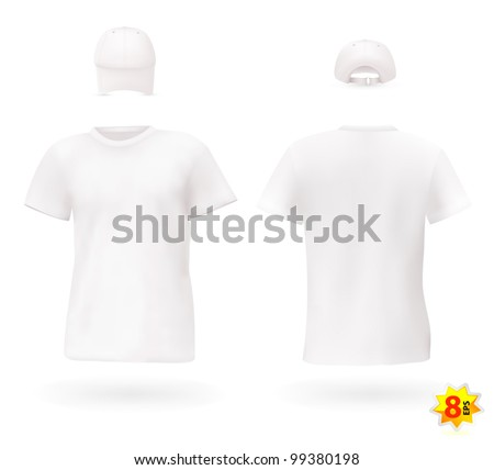 White blank men's t-shirt template with a cap. - stock vector