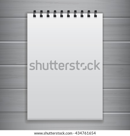White Blank Notebook Template for Advertising and Corporate Identity. Realistic Spiral Notepad Mockup Vector with Wood Background. - stock vector