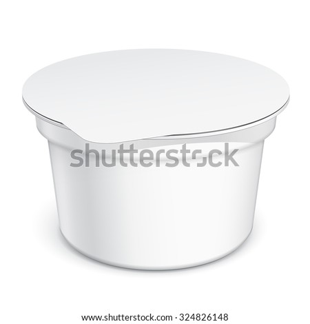 White blank plastic container for sour cream, yogurt, jams and other products. MockUp Template For Your Design. Vector illustration. - stock vector