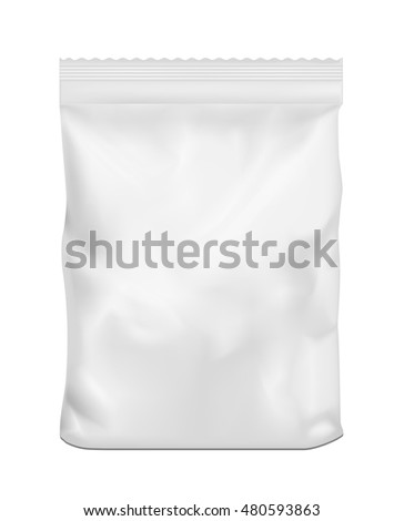 White blank plastic or paper washing powder packaging. Sachet for bread, coffee, sweets, cookies and gift.