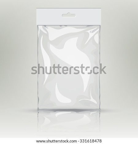 White blank plastic pocket bag. Vector transparent bag. With Hang Slot.  Mock up template of empty plastic container. Vector nylon bag illustration - stock vector