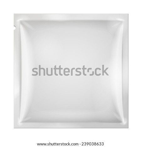 White Blank Retort Foil Packaging Medicine Drugs Or Coffee, Salt, Sugar, Pepper, Spices, Snack, Sachet, Sweets, Candy Or Condom. Plastic Pack. Mock Up Template Ready For Your Design. Vector EPS10
