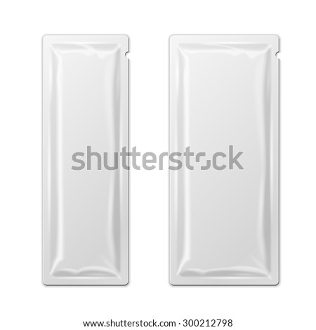 White Blank Retort Foil Packaging Stick Medicine Drugs Or Chewing Gum, Coffee, Salt, Sugar, Spices, Sachet, Sweets, Candy. Isolated Mock Up Template Ready For Your Design. Product Packing Vector EPS10 - stock vector