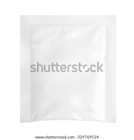 White Blank Retort Foil Pouch Packaging Medicine Drugs Or Coffee, Salt, Sugar, Pepper, Spices, Sachet, Sweets Or Condom. Isolated Mock Up Template Ready For Your Design. Product Packing Vector EPS10 - stock vector