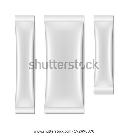 White blank sachet packaging, stick pack. Vector. - stock vector