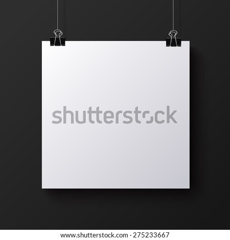 White blank square sheet of paper on the black background, vector mock-up illustration