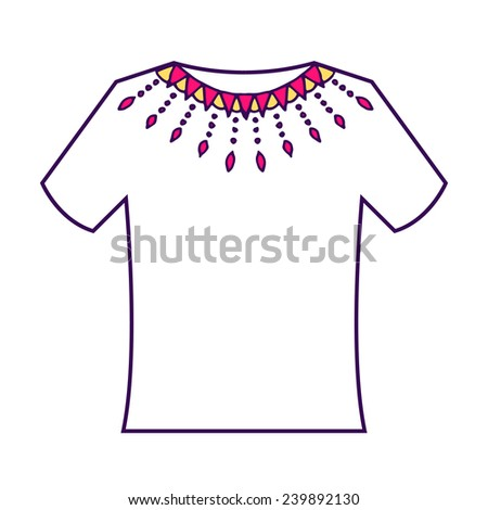 White blank t-shirt with doodle ornament. Vector illustration.