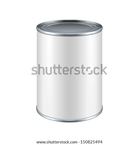 White Blank Tincan Metal Tin Can, Canned Food. Ready For Your Design. Product Packing Vector EPS10 - stock vector