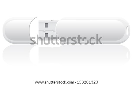white blank usb flash isolated on background