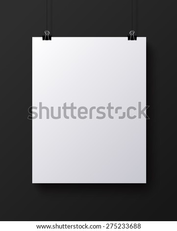 White blank vertical sheet of paper on the dark grey background, vector mock-up illustration