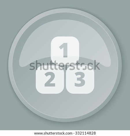 White 123 Blocks icon on grey web button - stock vector