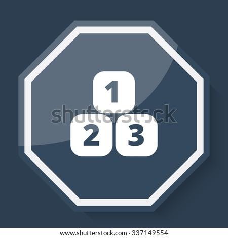 White 123 Blocks icon on plum blue web app button - stock vector