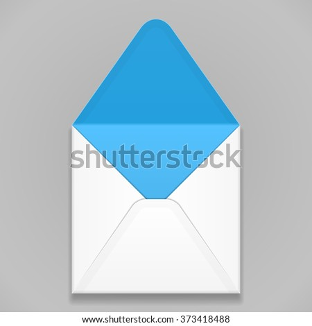 White Blue Blank Envelope. Illustration Isolated On Gray Background. Mock Up Template Ready For Your Design. Vector EPS10  - stock vector