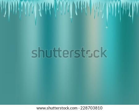 white blue icicle on blue background - stock vector