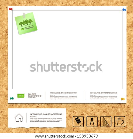 White blueprint paper background on cork stock vector 158950679 white blueprint paper background on cork board texture with note paper and drawing icon vector malvernweather Choice Image