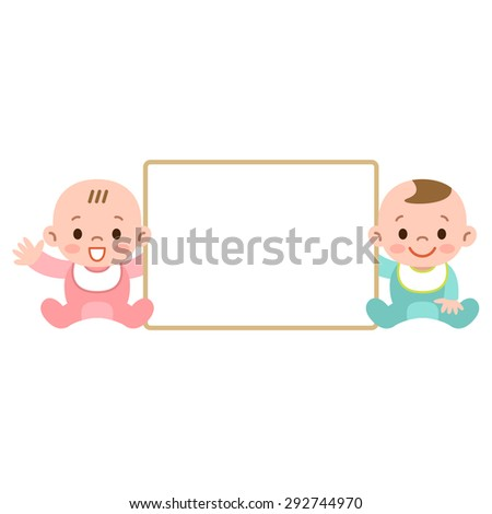 White board and babies - stock vector