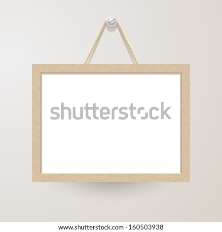 White board with rope hanging on a nail - stock vector