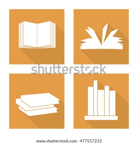 White book flat icon with long shadow for design. Autumn set. Vector illustration.