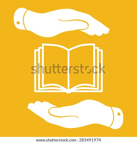 white book icon in flat hands isolated on yellow background- vector illustration