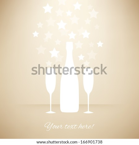 White Bottle and two glasses of champagne with transparent stars on beige background. Vector version. - stock vector