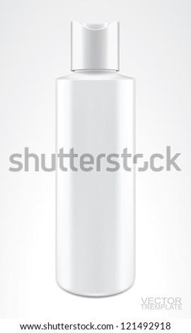 white bottle isolted on white, VECTOR ILLUSTRATION - stock vector