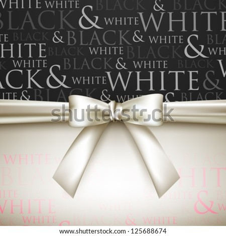 white bow on black and white background - stock vector