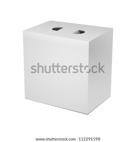 White box, box for food, sweets, gifts, alcohol, document, paper, napkin, gift with slots, handles - stock vector