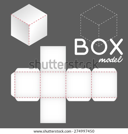 white box model, cube template - stock vector