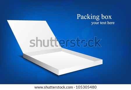 White box on blue background with circles - stock vector