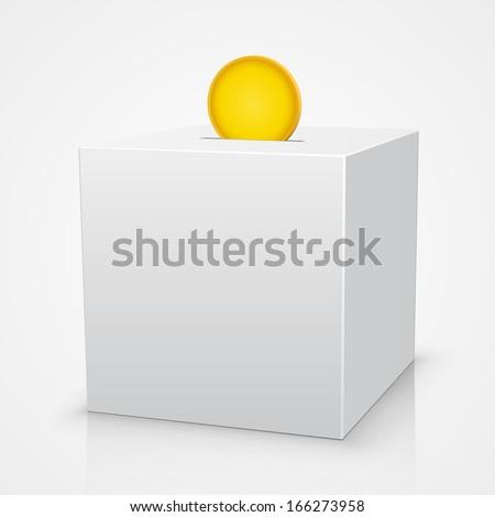 White box piggy bank with a coin - stock vector