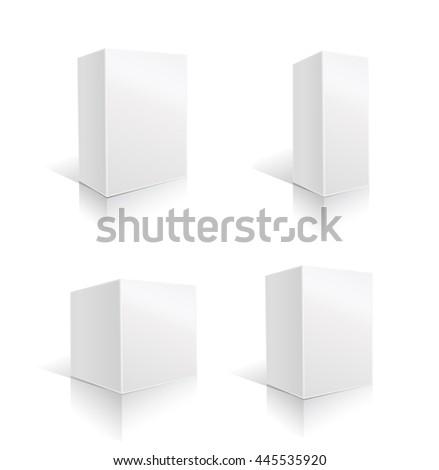 white box set. vector illustration - stock vector