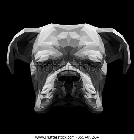White boxer dog animal low poly design. Triangle vector illustration. - stock vector