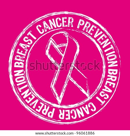 white breast cancer prevention stamp over pink background. vector - stock vector