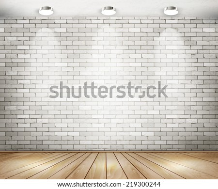 White brick room with spotlights. Vector.