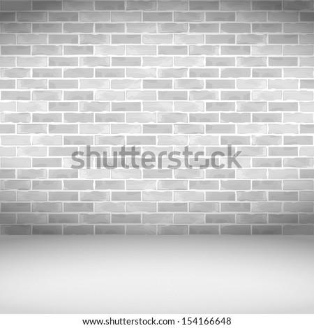 White brick wall, vector eps10 illustration - stock vector