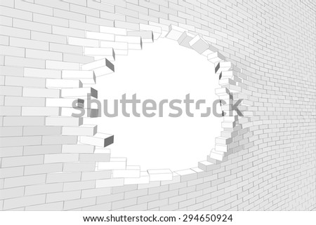 White brick wall with big hole. Vector illustration