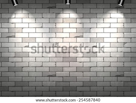 White brick wall with illumination. Vector illustration - stock vector