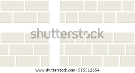 White bricks. Four different versions of seamless pattern vectors with different backgrounds of brick walls painted in white.