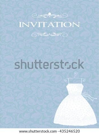 white bride dress background, wedding invitation, the vector - stock vector