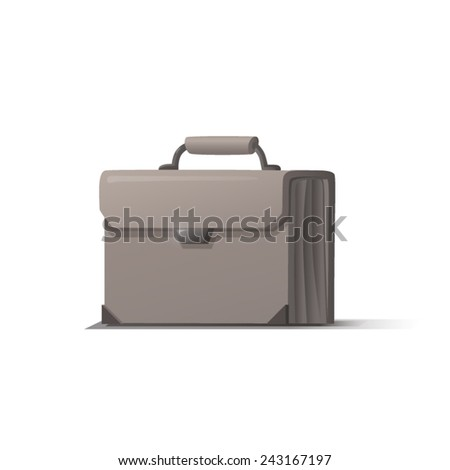 White briefcase with shadow on white background, vector
