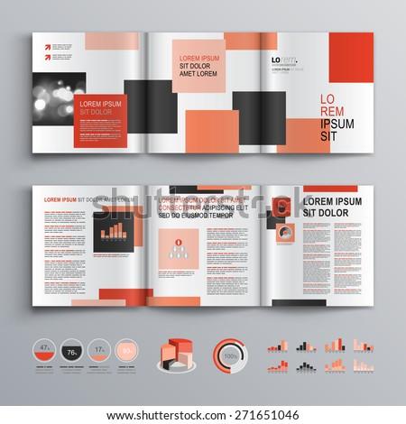 White Brochure Template Design Red Black Stock Vector 271651046